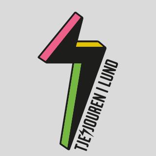 Tjejjouren i Lunds logotype, en blixt i svart, gult, rosa och grönt.