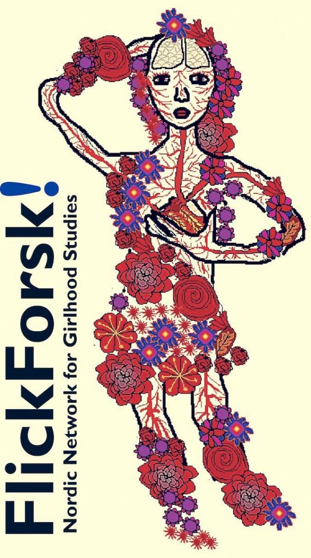 FlickForsks logotype. En flicka ses i genomskärning med hjärna och blodsystem, täckt i blommor.