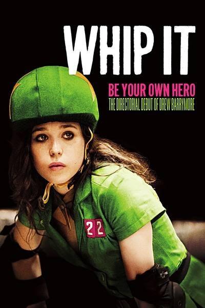 Poster till filmen WHIP IT, Ellen Page i gröna kläder och grön hjälm
