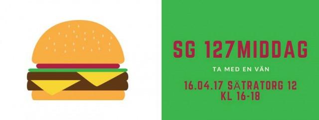 """vit bakgrund och en tecknad hamburgare på vänstra delen av bilden, grön bakgrund på högra halvan, röd text """"SG 127 Middag, ta med en vän, 16.04.17, sätratorg 12, kl. 16-18"""""""