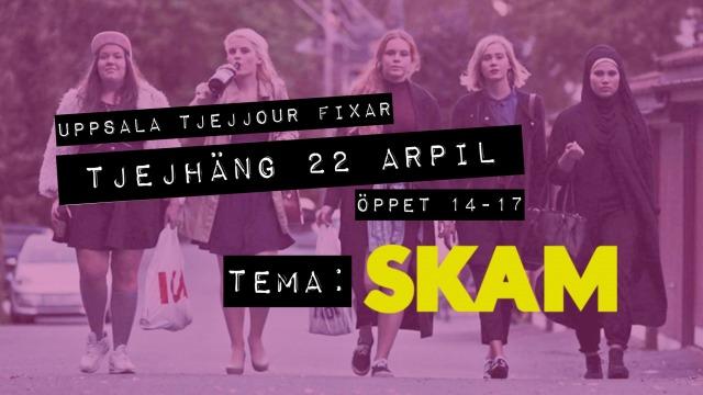 """bild på tjejerna i SKAM som går mot kameran, rosa filter, texten """"Uppsala tjejjour fixar TJEJHÄNG 22 april, öppet 14-17, tema: SKAM"""