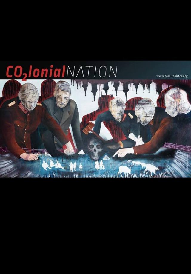 """Målad bild på män som lutar sig över ett bord med människor och boskap.Röd text """"Co2lonial nation"""""""