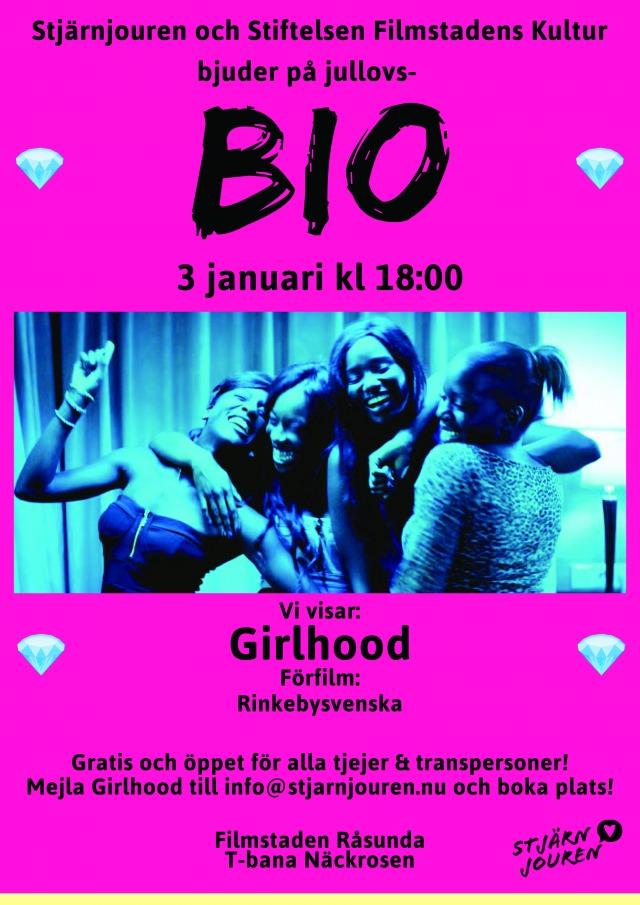 En rosa poster där det står att Stjärnjouren bjuder in till jullovsbio. På postern syns en bild från filmen Girlhood där ett gäng tjejer skrattar tillsammans.