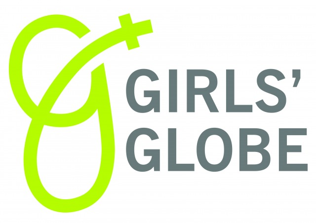 girls globes logotyp. Vit bakgrund och girls globe skrivet i grönt