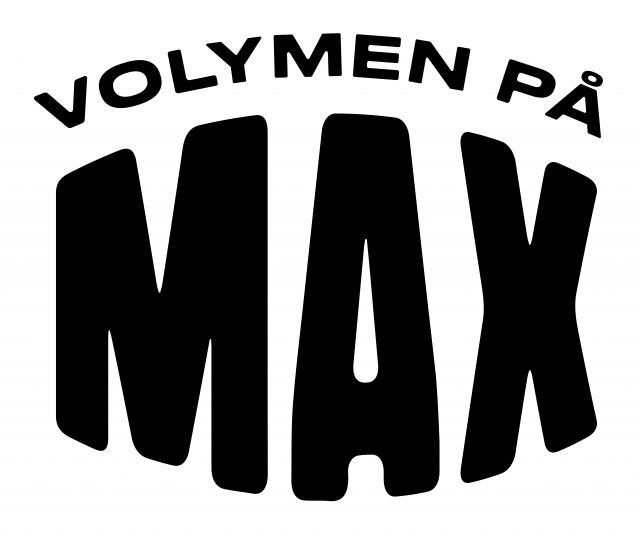 Svart text på vit bakgrund, där det står Volymen på Max