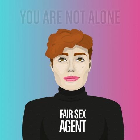 """Illutrerad bild på en person som är en Fair Sex Agent. Ovanför står texten """"You are not Alone"""""""