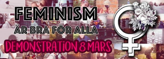 """bakgrund gjort av massor av bilder på kvinnor och texten """"feminism är bra för alla, demonstration 8 mars"""""""