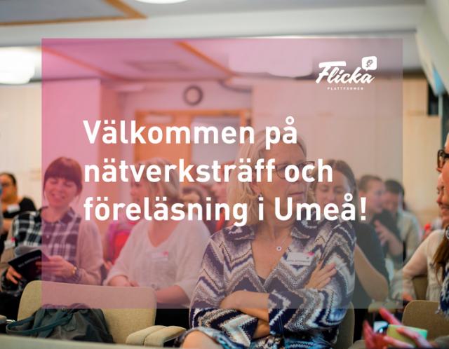 """ST: Deltagare på tidigare nätverkträff sitter och pratar, rosa filter och texten """"Välkommen på nätverksträff och föreläsning i Umeå!"""""""