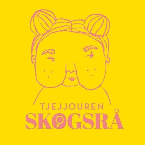 Gul bakgrund, tjej tecknat med lila färg, texten Tjejjouren Skogsrå