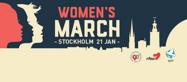Banner med kvinnoansikten i profil med texten: Women's March - Stockholm 21 januari-. Fredrika Bremers, RFSU och IKFFs loggor längst ner